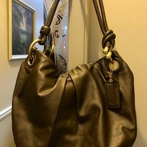 Coach Espresso Brown Leather Pleated Hobo-$328
